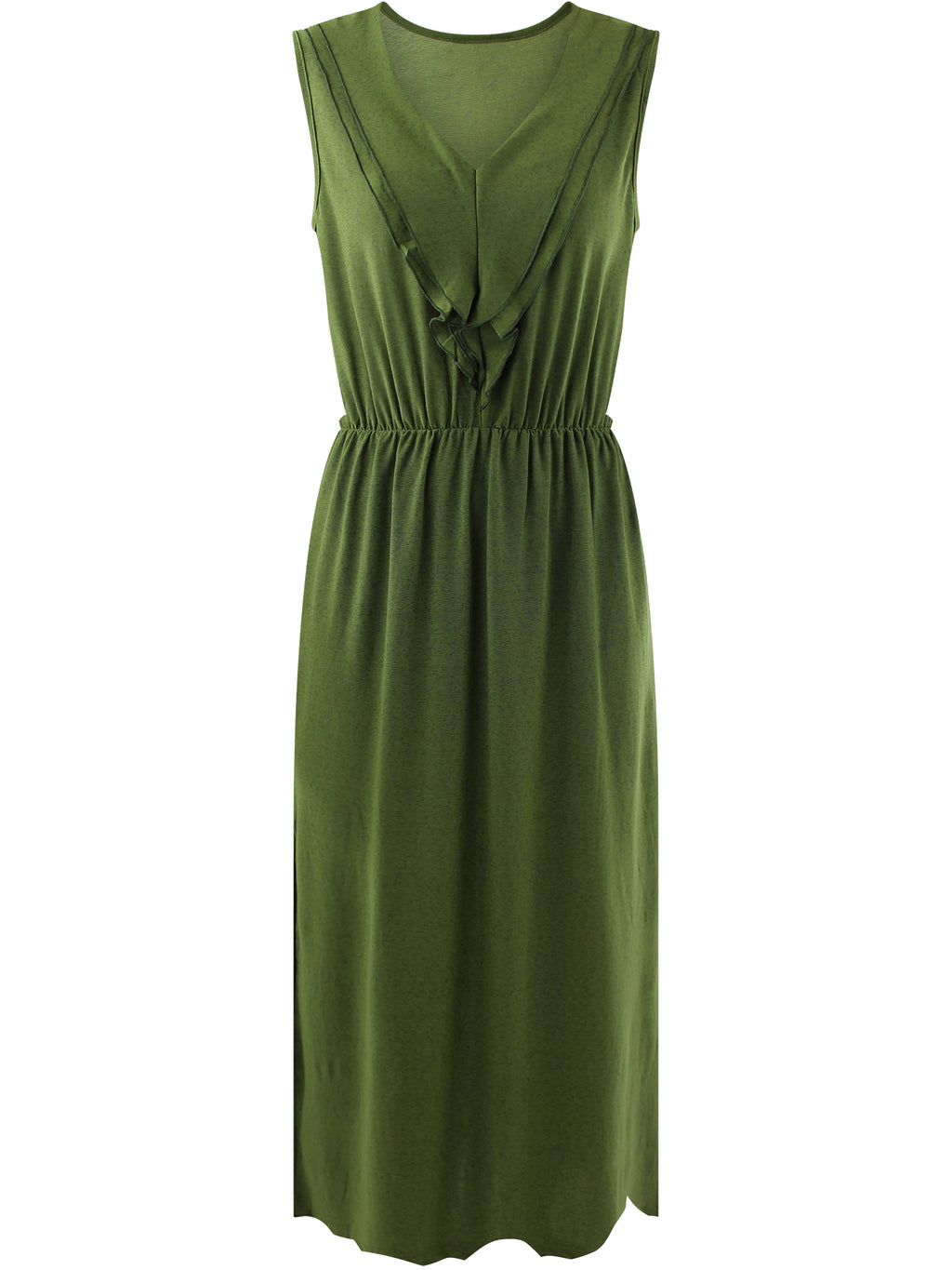 Olive Sleeveless Ruffled Neckline Maxi Dress