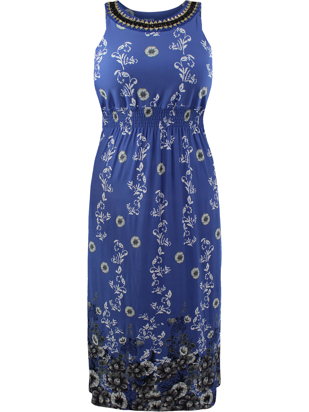 Blue Plus Size Sun Dress With Jeweled Neck