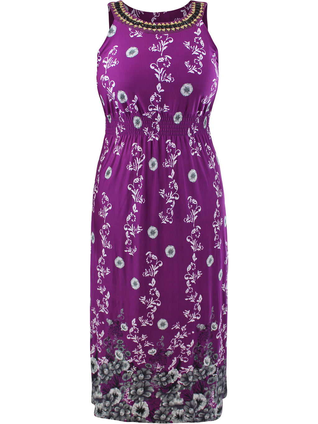 Purple Plus Size Sun Dress With Jeweled Neck