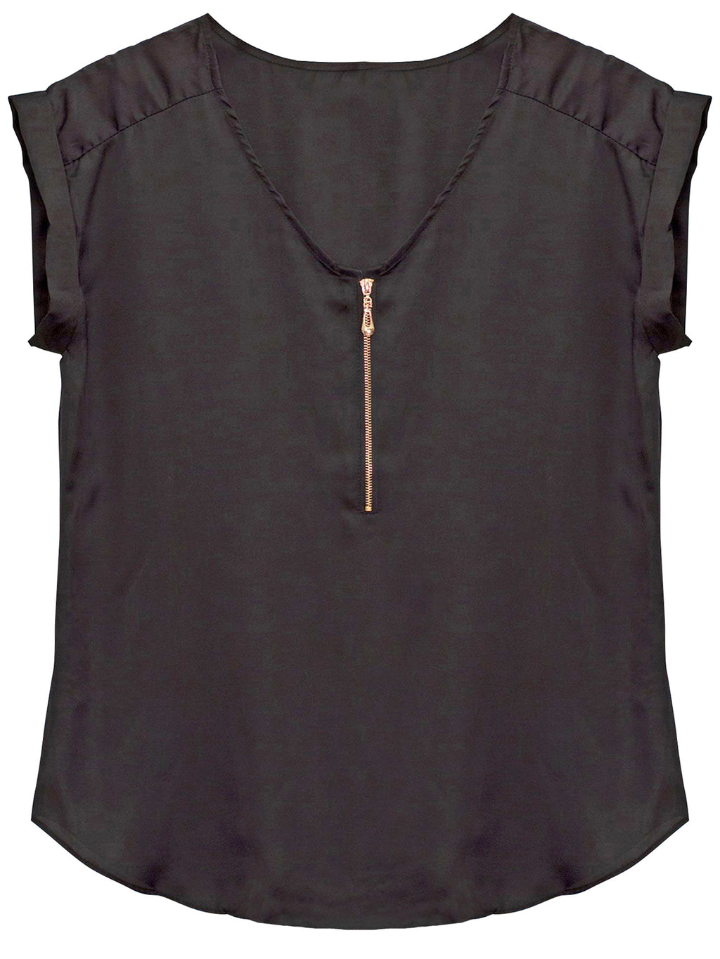 Black Zipper Front Sleeveless Blouse
