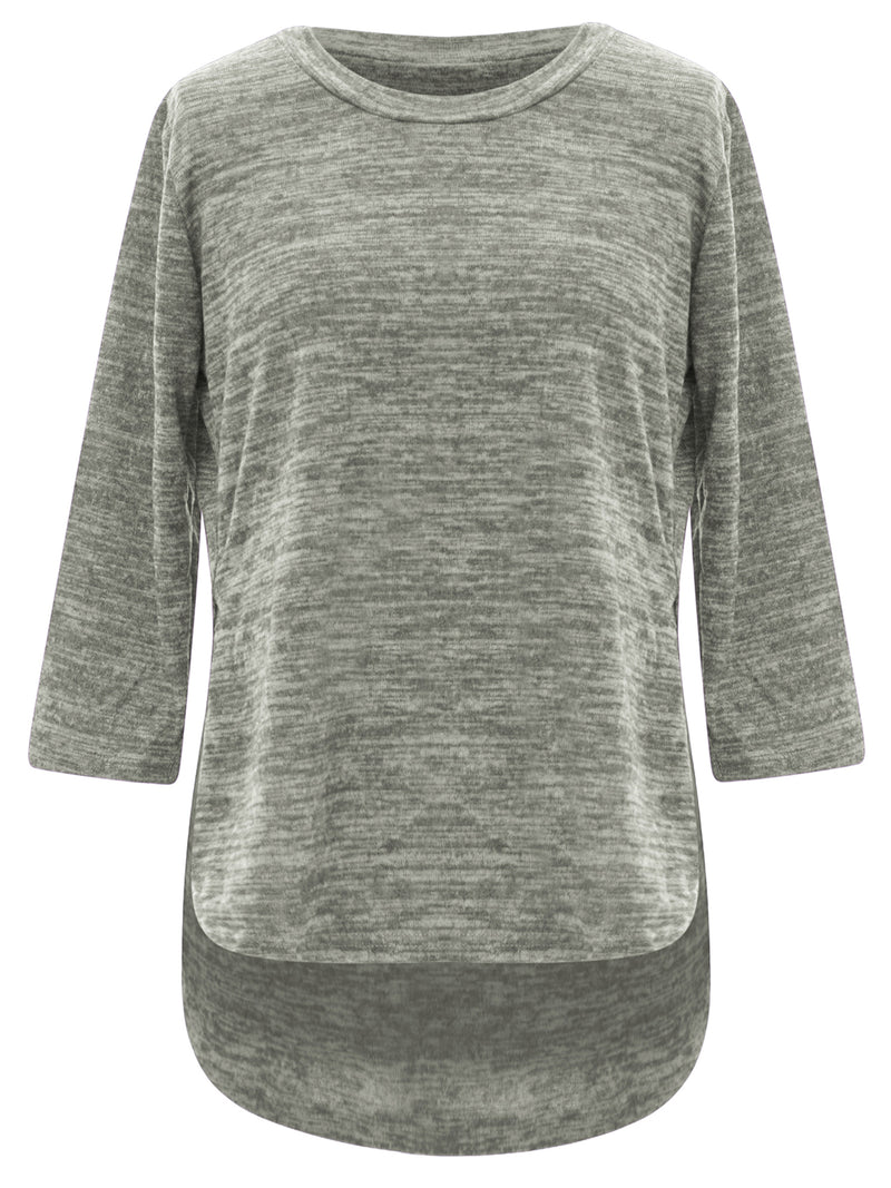 Gray Loose Fit Plus Size Hi-Lo Top