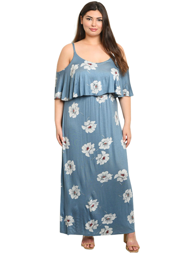 Indigo Blue Plus Size Ruffle Summer Dress