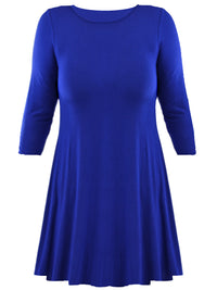 Womens Plus Size Royal Blue Swing Dress
