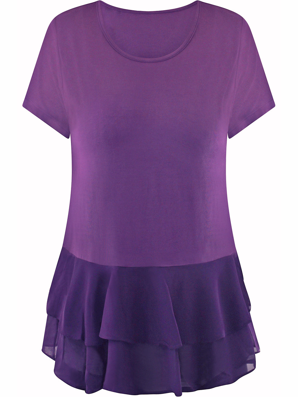 Short Sleeve Chiffon Top With Ruffle