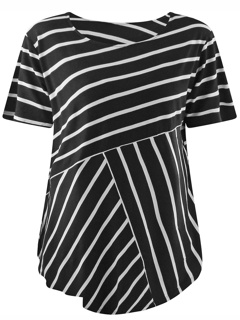 Plus Size Striped Relaxed Fit Top