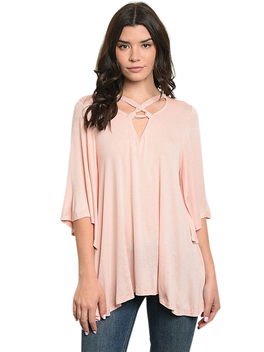 Blush Pink Relaxed Fit Top With Crisscross Tie
