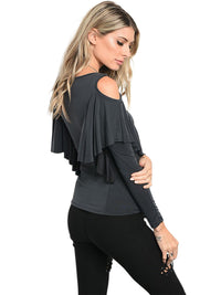 Charcoal Gray Cold Shoulder Sleeve Ruffled Top