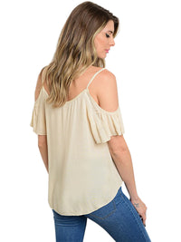Womens Beige Cold Shoulder Loose Fit Top
