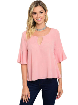 Womens Blush Pink Top With Bell Sleeves