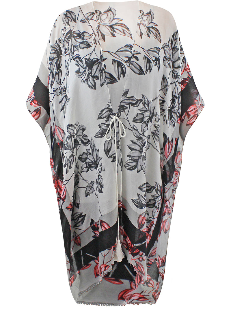 Black White & Red Floral Chiffon Beach Cover Up
