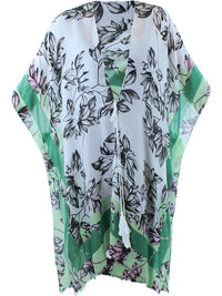 Black White & Mint Floral Chiffon Beach Cover Up