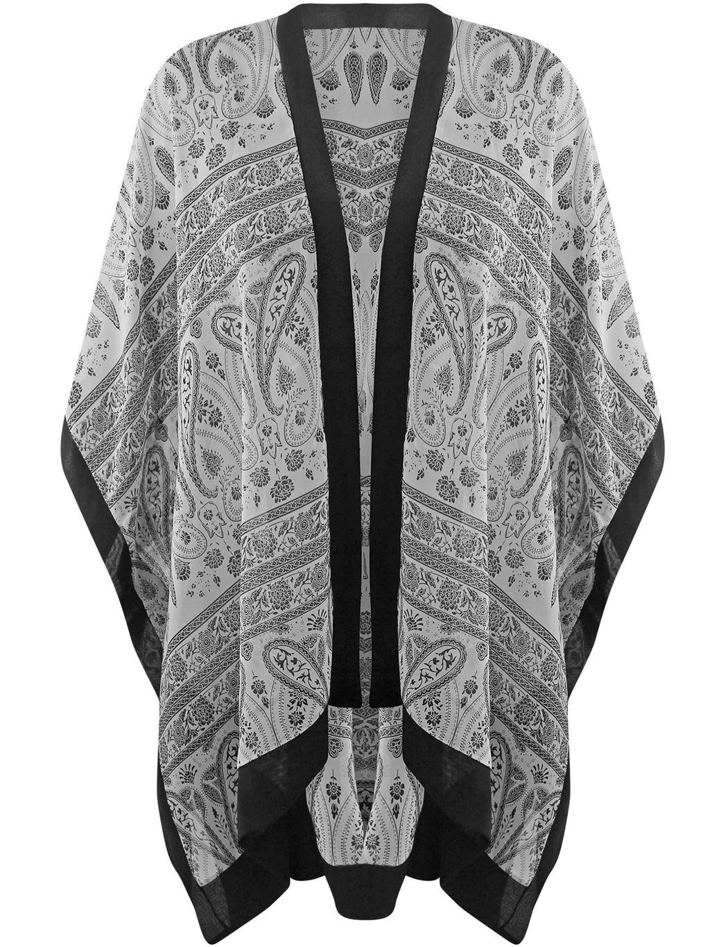 Black & White Sheer Chiffon Paisley Beach Cover Up