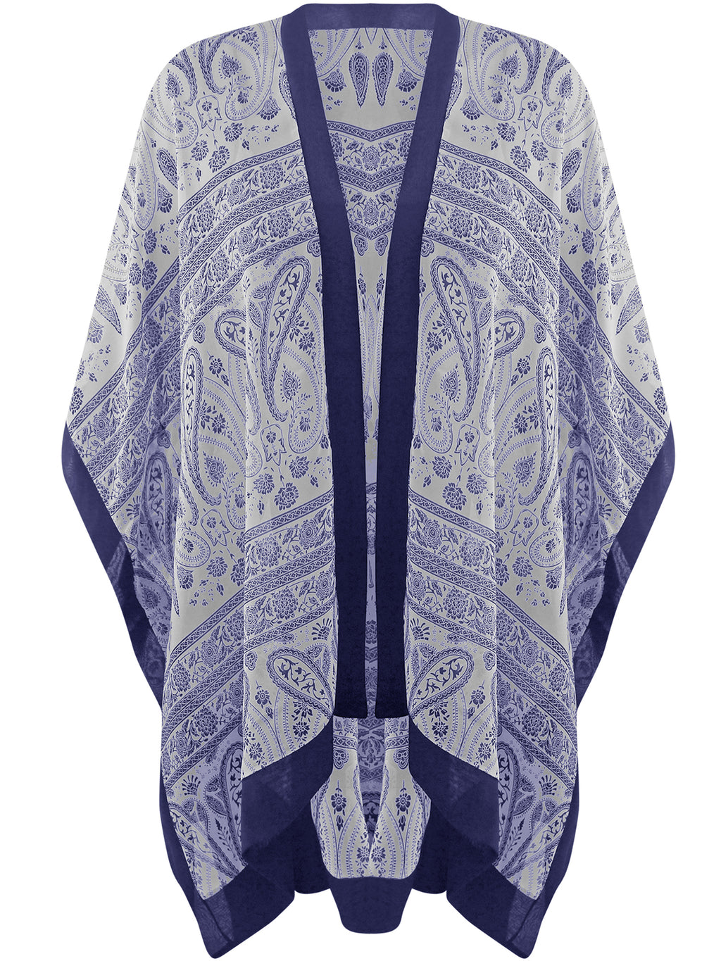 Navy & White Sheer Chiffon Paisley Beach Cover Up
