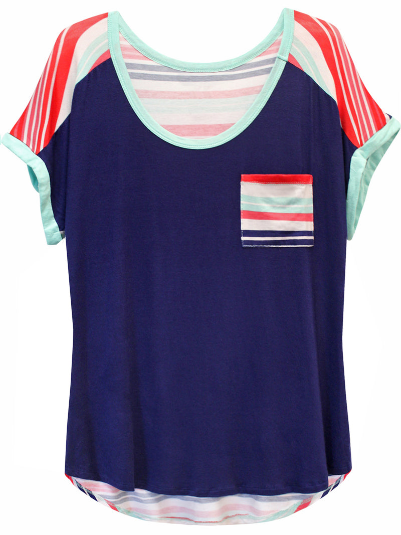 Navy Blue Plus Size Striped Back T-Shirt