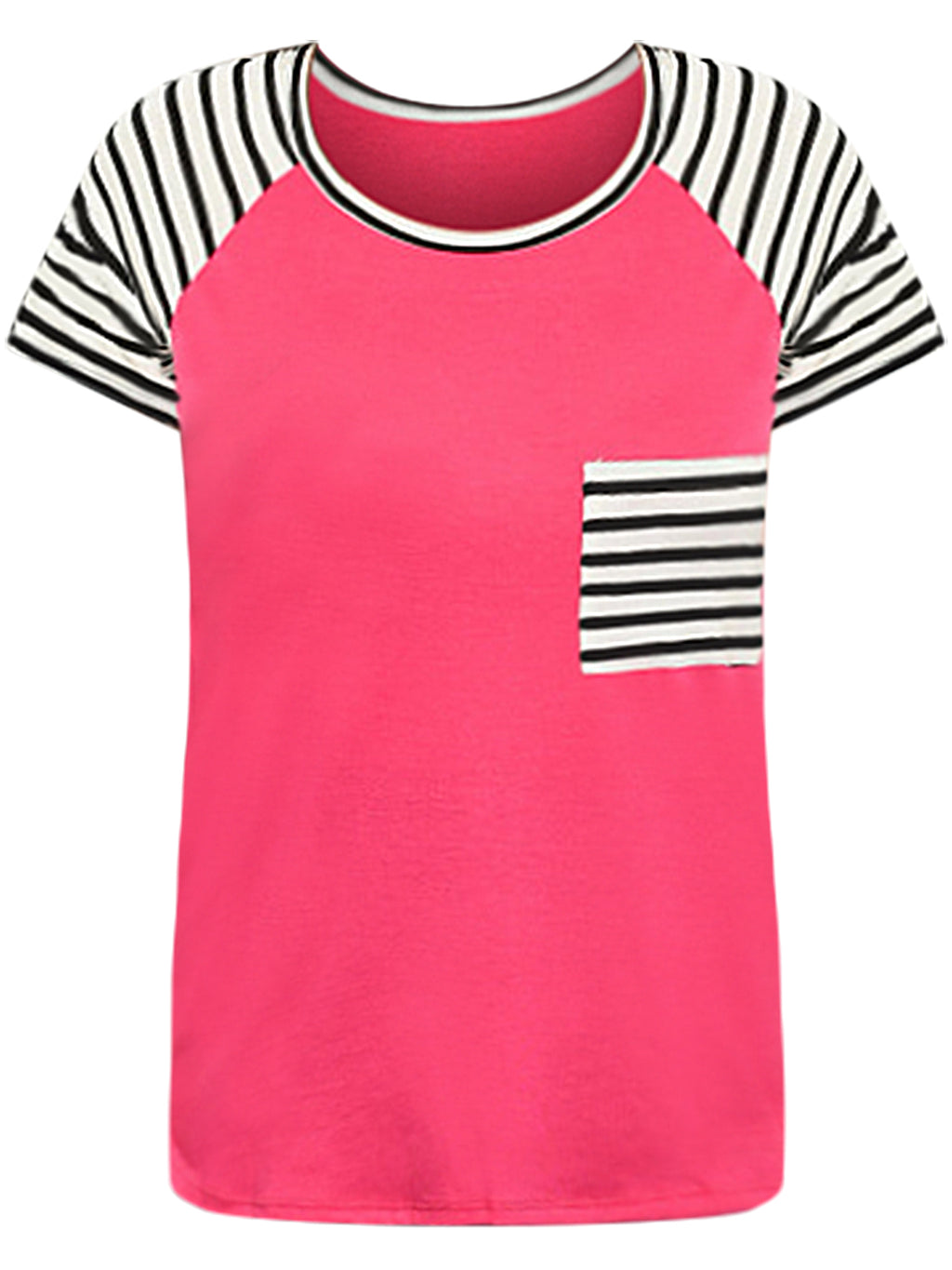 Hot Pink Black & White Striped Plus Size T-Shirt