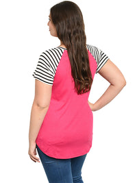 Striped Plus Size Womens T-Shirt