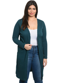 Plus Size Knit Open Cardigan
