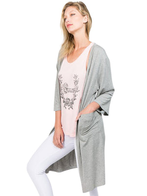 Open Front Jersey Knit Cardigan