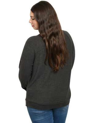 Dark Gray Plus Size Long Sleeve Top