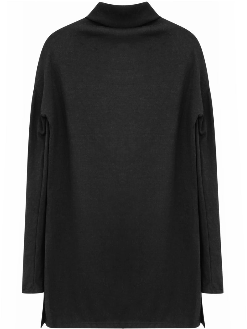 Black Long Sleeve Turtleneck Top With Side Slits