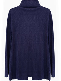 Navy Blue Ribbed Knit Long Sleeve Open Back Top