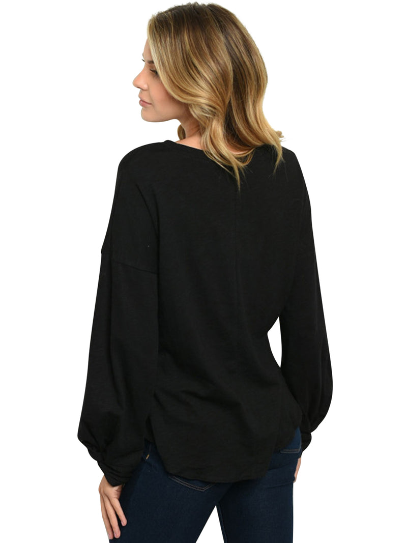 Black Long Sleeve Loose Fit Knit Top