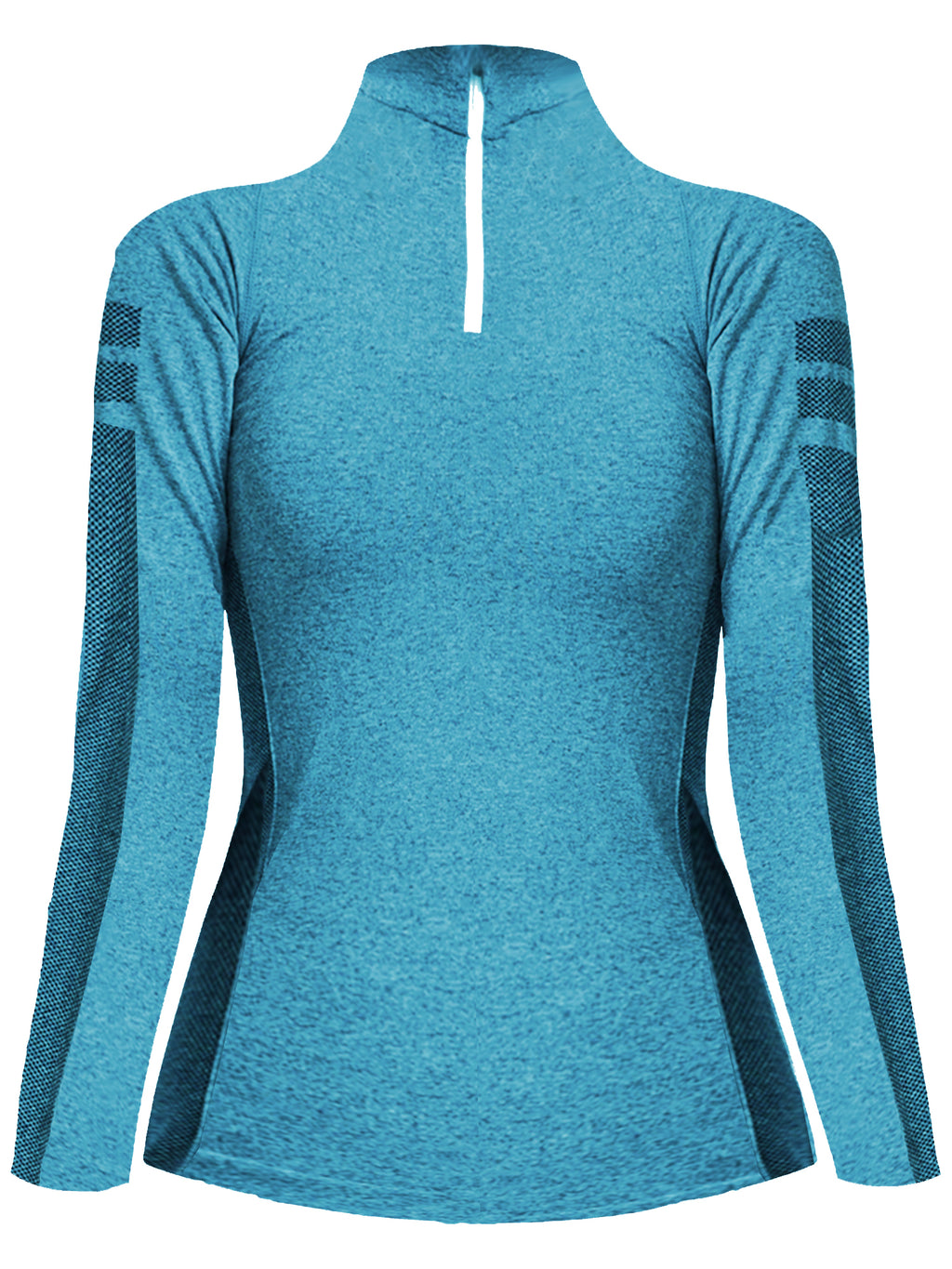 Aqua Blue Quarter Zip Long Sleeve Pullover