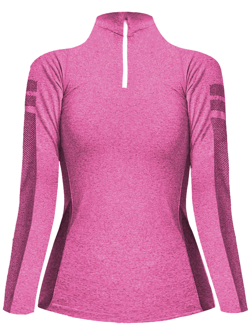 Pink Quarter Zip Long Sleeve Pullover