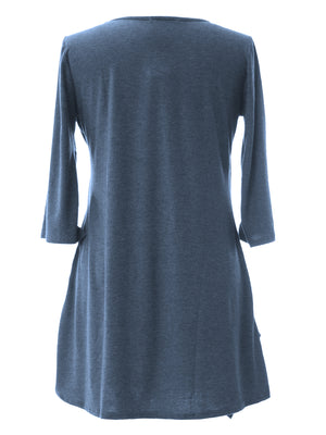 Three Quarter Sleeve Plus Size Paneled Tunic Top