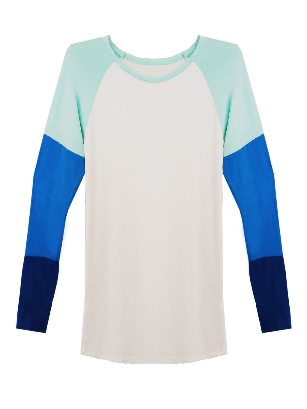 Lightweight White Top With Color Block Sleeves
