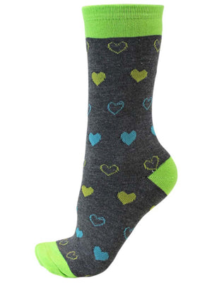 Colorful Hearts Womens 6 Pack Novelty Crew Socks