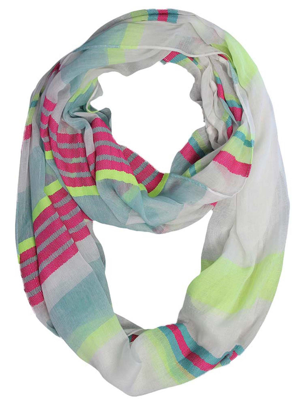 Fuchsia Lime & Teal Multi Stripe Lightweight Infinity Circle Scarf