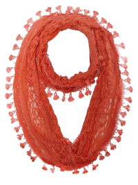 Lace Infinity Scarf With Tassels