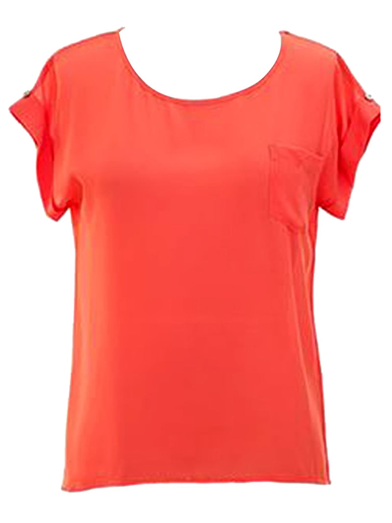 Short Sleeve Top With Button Detail