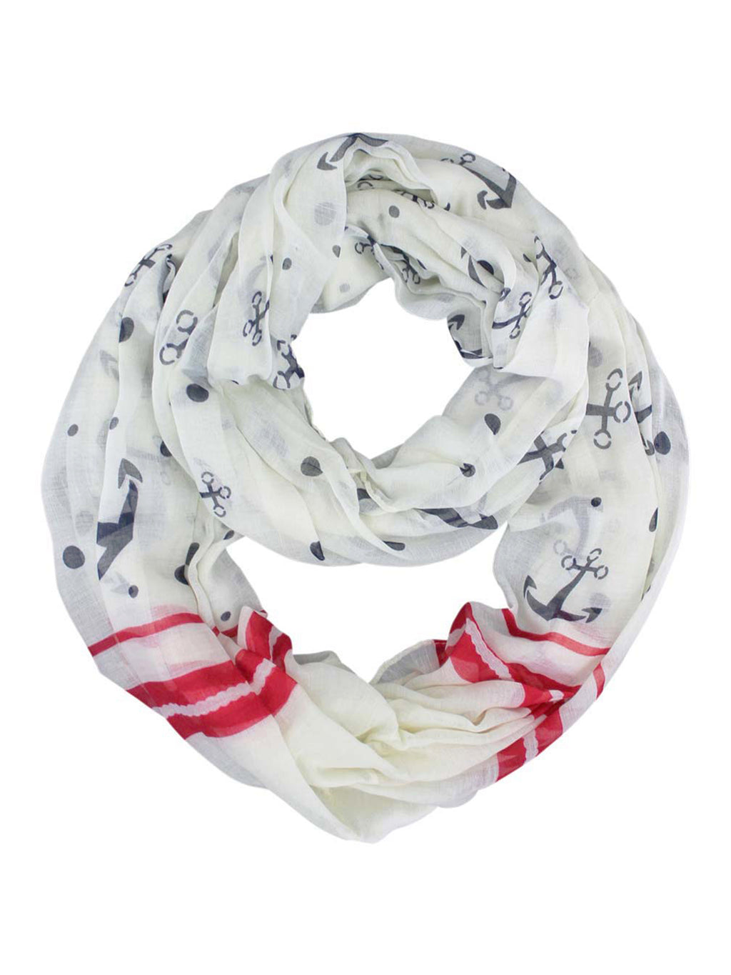 Anchor Print Summer Circle Infinity Scarf