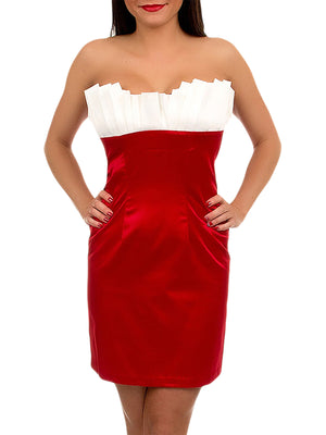 Satin Strapless Dress With Ruffle Bust