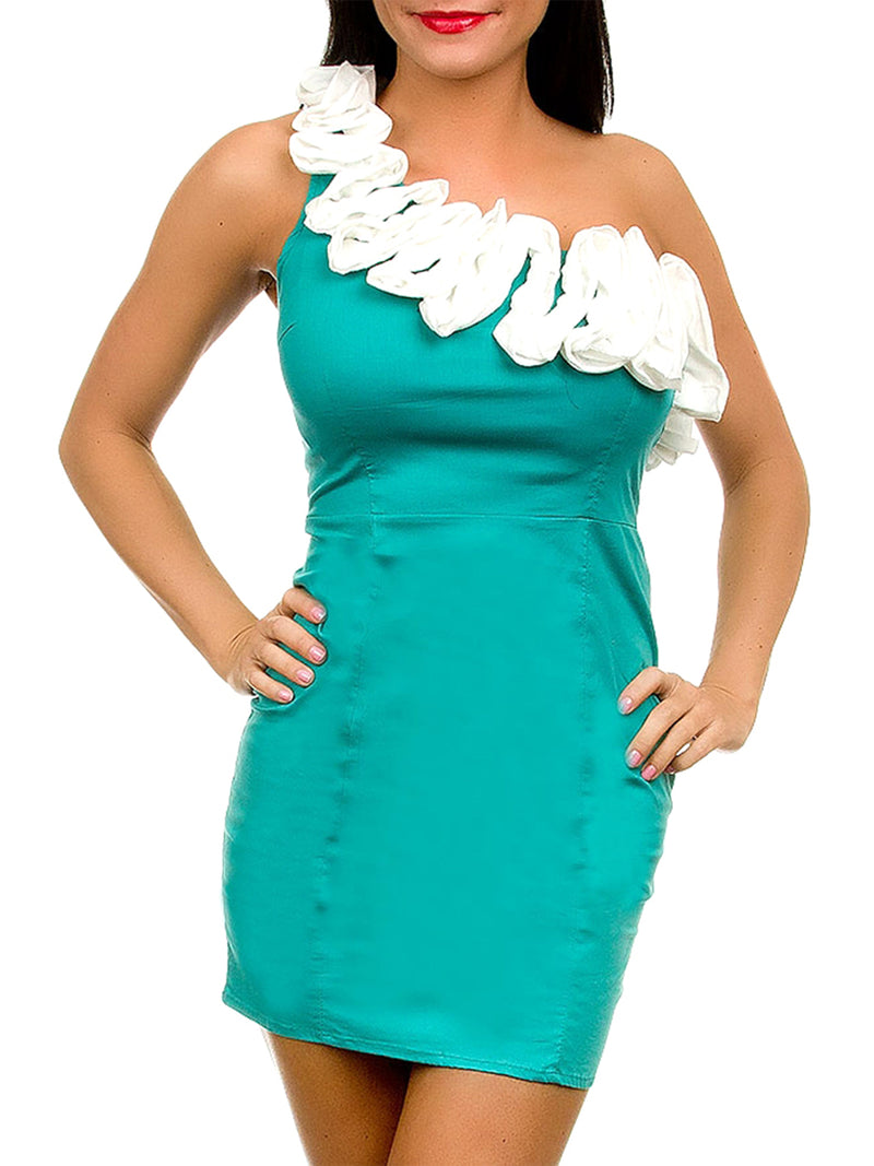Sea Foam Green Cocktail Dress With Ivory Ruffle Trim