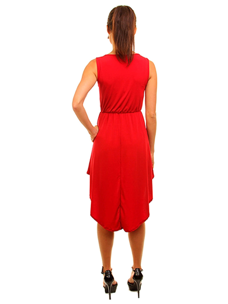 Simple Red Sleeveless High-Low Dress