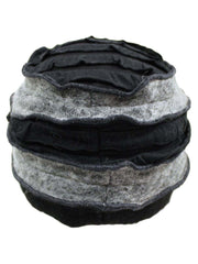 Grey & Black Wool Blend Layered Winter Hat With Flower
