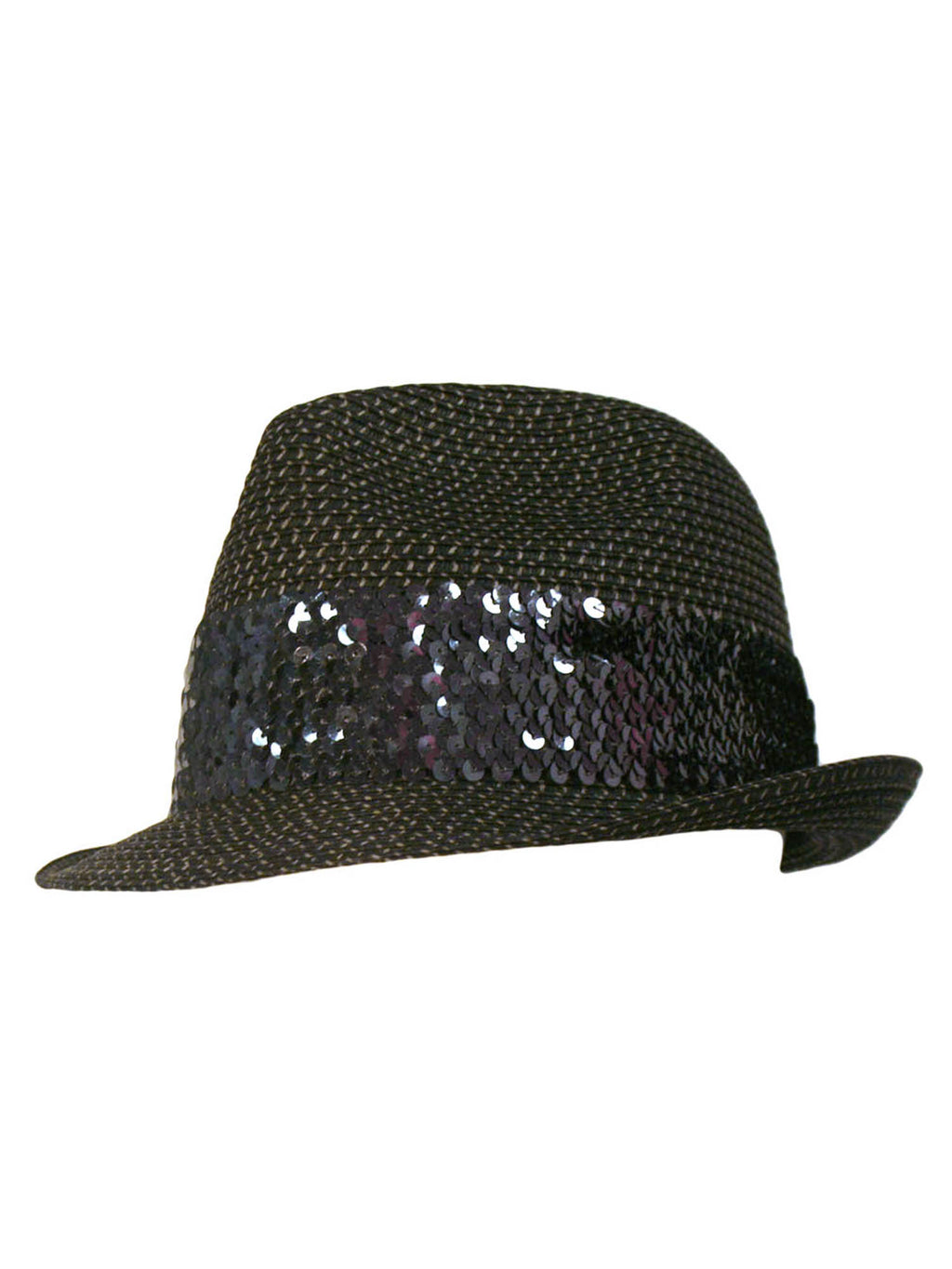 Straw Fedora Hat With Sequin Hat Band