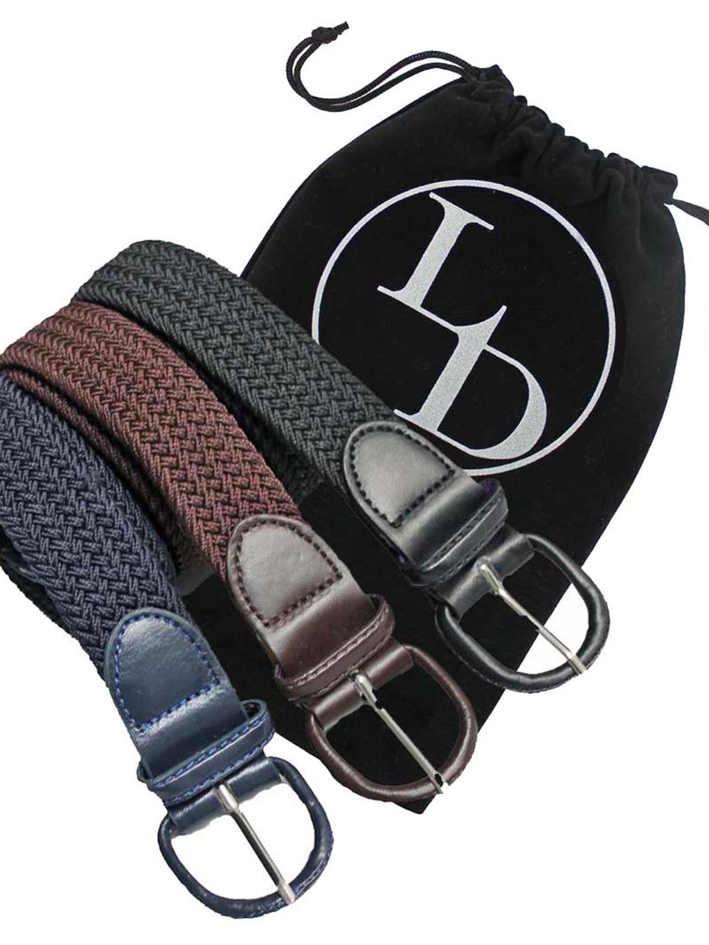 Black Navy Blue Brown 3 Pack Braided Elastic Belts