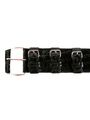 Black Crocodile Textured Belt With Faux Buckle Detail