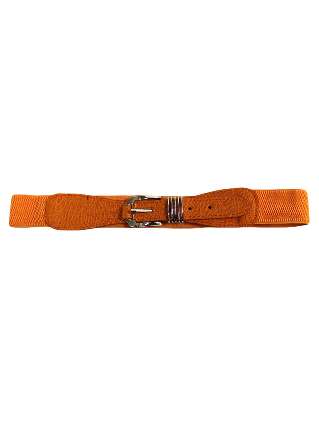 Thin Crocodile Textured Retro Buckle Stretch Belt