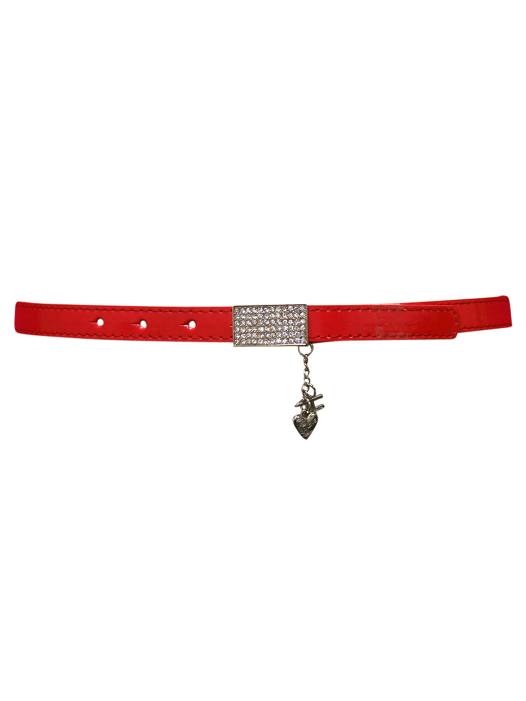 Thin Metallic Belt With Rhinestone Buckle