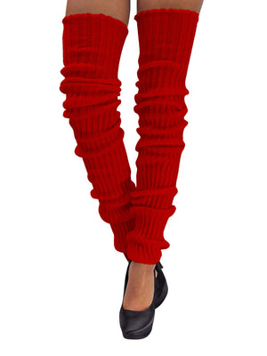 Red Thigh High Knit Leg Warmers