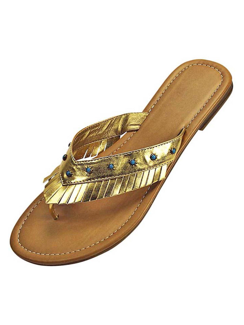 Metallic Bohemian Sandal With Fringe