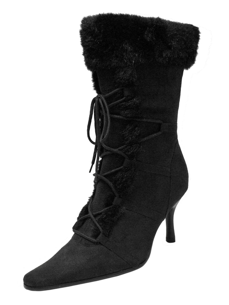 Lace-Up Faux Fur Trim Retro Style Womens Boots