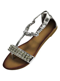 Metallic Bead Trim Thong Flat Womens Sandals