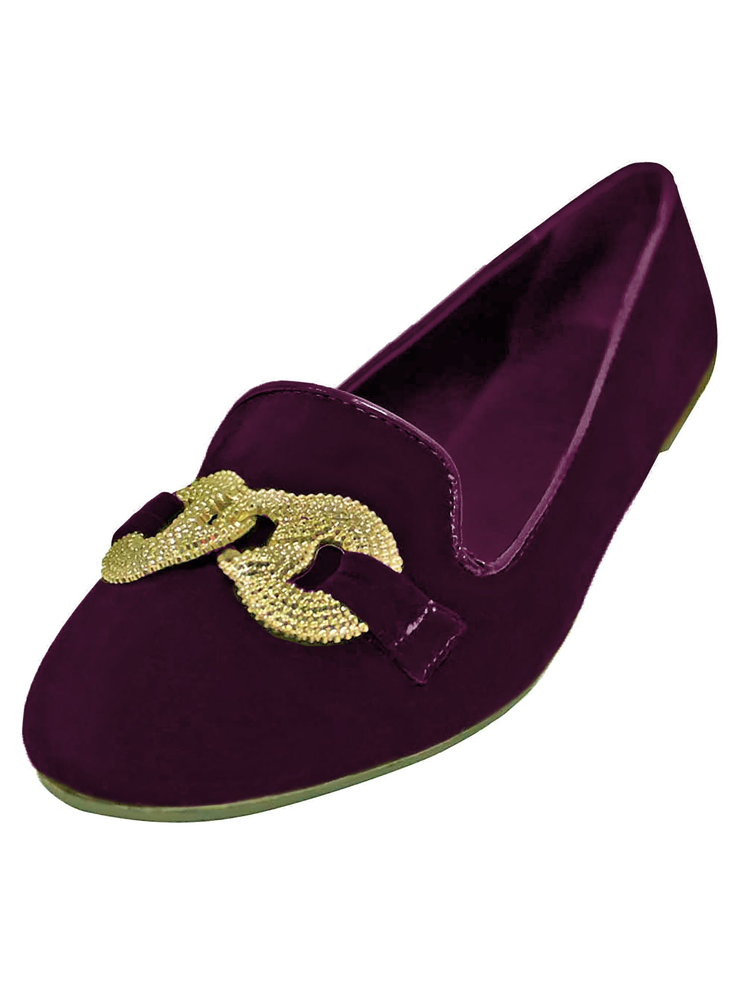 Suede Womens Ballet Flats With Silver Buckle