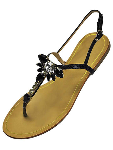 Strappy Crystal Bejeweled Flat Womens Sandals